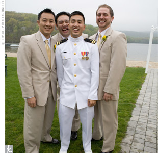David wore his Navy uniform, while the three groomsmen wore tan suits to complement the yellow worn by the bridal party.