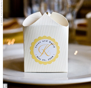 Guests were sent home with small jars of strawberry jam which were displayed in cream colored boxes of crinkle cut paper with the same stickers used for the ceremony programs.
