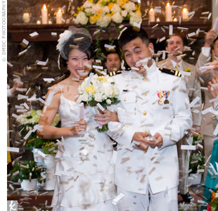 Right after the ceremony, guests showered the newlyweds with confetti.