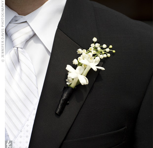 John wore a stem of stephanotis, just like the one in Linda's hair, and a lily of the valley on his lapel.