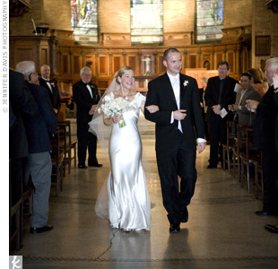 Linda and John exchanged vows in St. Paul's Chapel on the Columbia University Campus. They exchanged vows they wrote themselves in a spiritual, but non-religious ceremony.