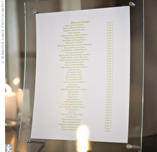 Guests kept complimenting the couple on their simple table assignment display. Linda printed out the seating arrangement in a celadon font and displayed it with a curved glass frame.