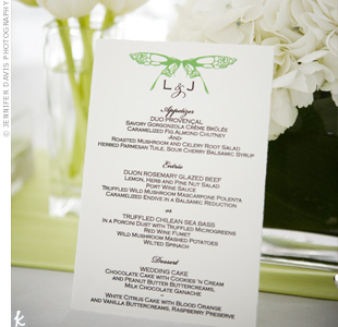 The black-and-white menu cards were given a pop of color from the green butterfly printed at the top.