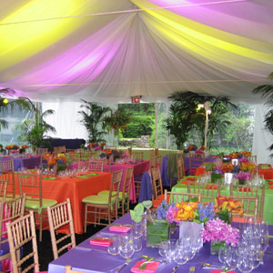 From the purple- and chartreuse-tinted tent, to the orange, purple, fuchsia, and lime linens, to the matching chair cushions, every inch of this reception space was covered in eye-popping color.