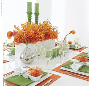 Wasabi + PumpkinUse architectural flowers to play up a modern look. Bouquet of orange pincushion protea and mango mini calla lilies. White vinyl container with orange pincushion protea and tangerine Mokara orchids. Metal teardrop vases with mango mini calla lilies. Parson white vinyl table, Elite square chargers, three-section tasting plates, green ...
