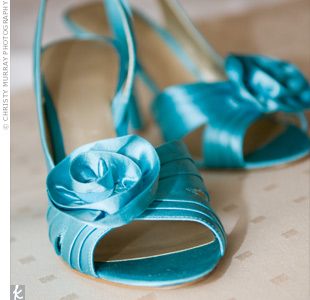 "For ""something blue,"" the bride added bright turquoise sling-backs from Nine West."
