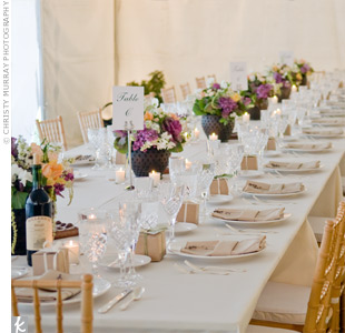Centerpieces and votives lined the rectangular tables leaving space for the food -- which was served family style -- and bottles of wine from the Larson Family Winery