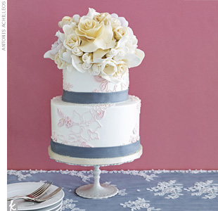 Blush + Ebony + PewterLet each table have its very own cake. Two-tiered cake with buttercream icing and hand-molded sugar flowers by Sylvia Weinstock Cakes Ltd.