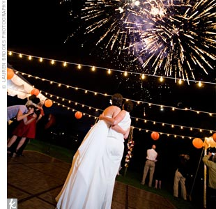 Once the couple had shared their first dance together, guests enjoyed a fireworks display.