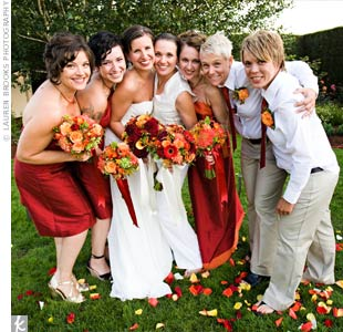 The five bridesmaids wore a dark red, silk shantung dress or a coordinating tie and khakis. Each maid chose her own style.