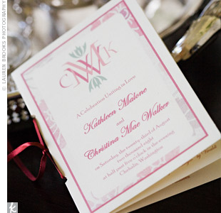 At their chairs, guests found a ceremony program -- all the stationery was handmade by Christina -- and a pen engraved with the couple's names and wedding date. During the ceremony, guests used their new pen to write the newlyweds a blessing, which was then incorporated into the wedding ceremony.