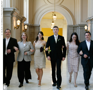 The newlyweds took a stroll with their low-key bridal party before heading to a celebratory lunch. Afterward, Melanie and Kevin hopped in their car and drove off for a mini honeymoon.