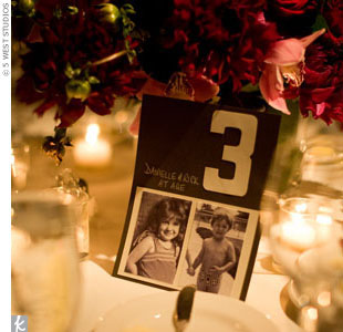 Although they used traditional table numbers from 1 to 15, Danielle added black-and-white pictures of her and Rick at each age for personal touches.
