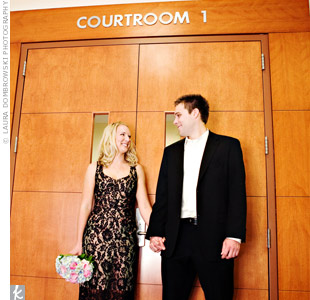 The couple waited outside Courtroom #1 for their 5 p.m. appointment.
