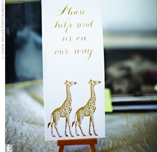 The reception had a beach theme, but the couple also wanted to pay tribute to their honeymoon -- an African safari! -- with this giraffe print.