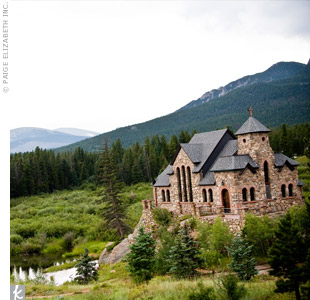 "The couple wed at Saint Malo church, which is located on an isolated hill just east of the Rocky Mountains. ""We'd always thought Saint Malo was the prettiest church we've ever seen,"" says Betsy."