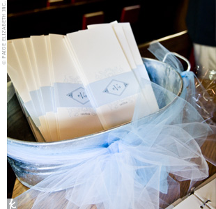 Printed with the couple's monogram, a removable light blue band held the ceremony programs together.