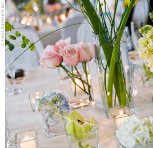 To complement the main colors of the wedding, navy and light blue, the couple chose centerpieces of pink roses, green cymbidium orchids, and blue and white hydrangeas.