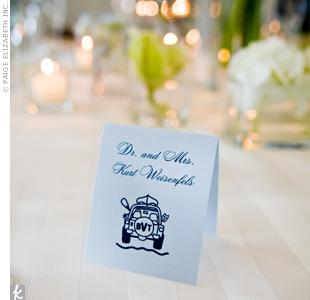 Keeping with the outdoor activity motif, the place cards had a customized graphic of a Jeep with their monogram printed on the rear tire.