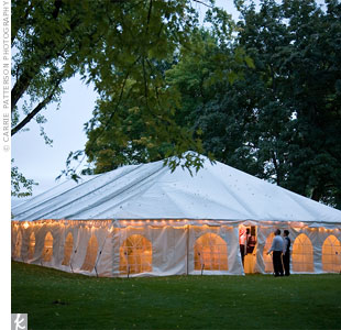 As the sun set, guests gathered under a tent for the reception.