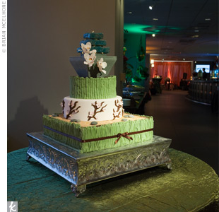 The three-tierd cake was decorated with a Zen motif.