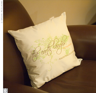 Handmade organic cotton pillows invited guests to sit and relax throughout the evening.