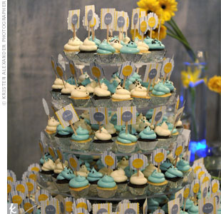 The color-coordinated candy and cupcake display was a big hit with the guests.