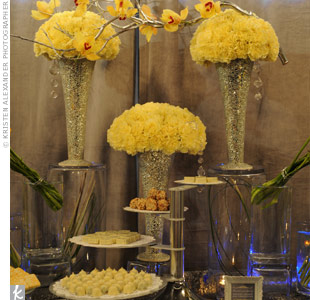 The grey, yellow, and white color palette was carried on throughout the decor.