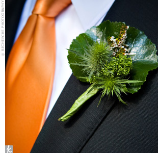 Brandon also paid homage to Heather's Scottish heritage by wearing thistle, a native Scottish flower, and heather, which was also in his bride's bouquet. Trachillium filled out the boutonniere.