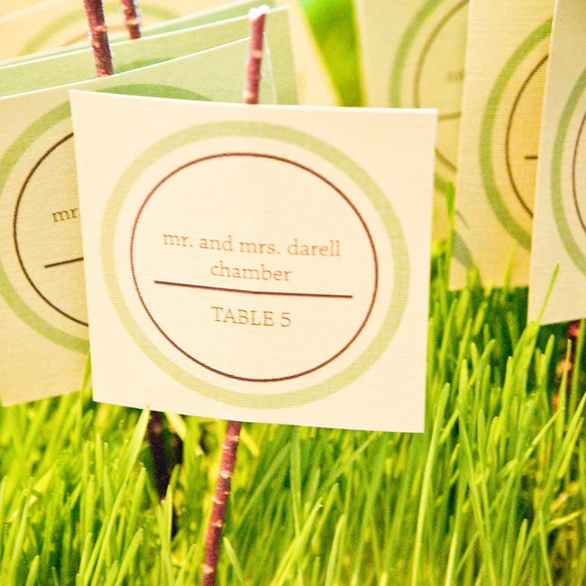 DIY-lover Kelly used the same green-and-white emblem created for her invitations on her escort cards. She printed guest names and table numbers on green cardstock, and, for earthy accents, attached them to twigs displayed in a bed of wheatgrass.