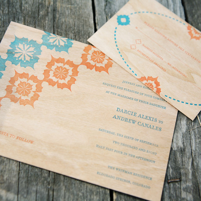 Darcie knew she wanted her invitations to be simple, yet meaningful. She dressed up soft wood-grain stationery with turquoise and orange Mexican designs.