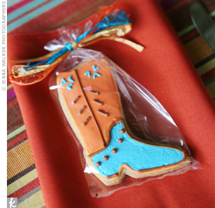 Guests took home cookies shaped like cowboy boots and horseshoes, baked and decorated by Darcie's aunt.