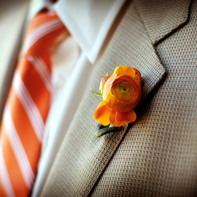 The couple preferred to keep things casual, so instead of a tux, Charlie wore charcoal slacks and a brown sport coat. A single orange rose decorated his lapel.