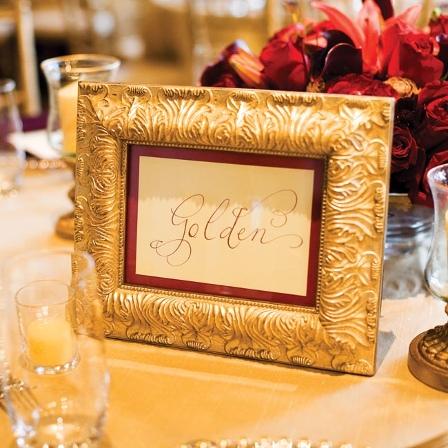 Suzanne and Michael named each table after a city that was significant to their relationship. They displayed the numbers in antique gold frames, which were complemented with matching gold hurricanes scattered on the tables.
