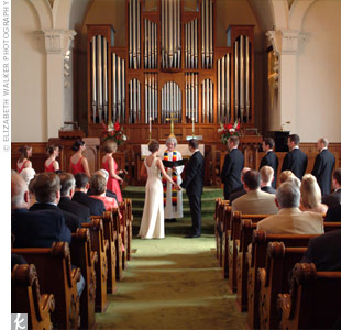 Elisabeth and John exchanged traditional vows at First Methodist Church where the both attended as kids. It was just four blocks from the reception site (a short walk, even in heels).