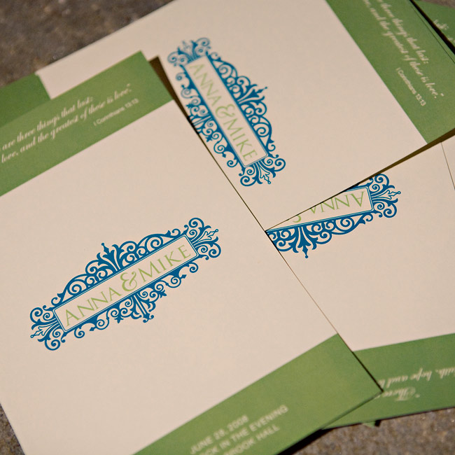 Anna and Michael kept their programs simple: a single card printed with their monogram, wedding date and a favorite quote on one side, and on the other, the names of the wedding party.