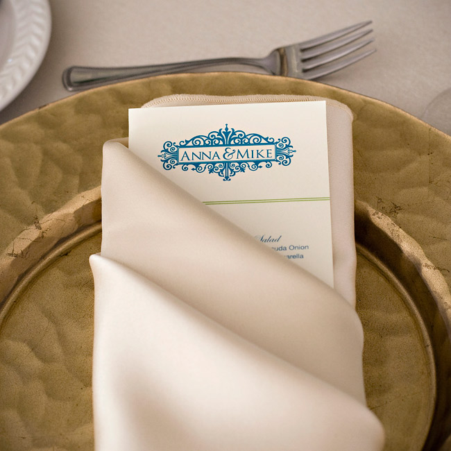 The same blue scrollwork that was on the escort cards appeared again on the menus.