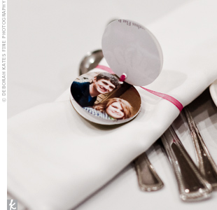 As a keepsake, each guest received an engagement photo of the couple printed with their monogram on a circle of vellum. The photos were tied with ribbon and used as napkin holders on the reception tables.