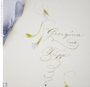 Designed to look like the invitations, the programs were made from hand-calligraphed Italian Fabriano paper and tied with a lilac chiffon ribbon.