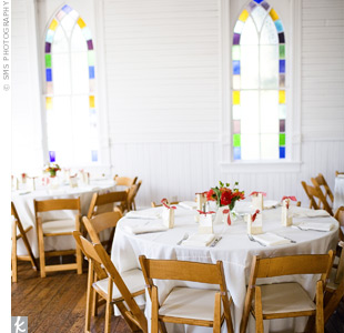 The stained-glass windows along two walls gave the room loads of natural light and an upbeat vibe. Another perk to the place: The colorful windows called for less decor in the overall space.