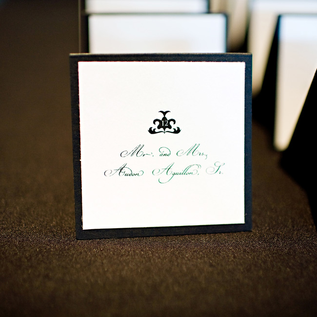 Stephanie made the cards the day before the wedding (talk about pressure!) by printing guests' names on paper similar to what was used for the table numbers.