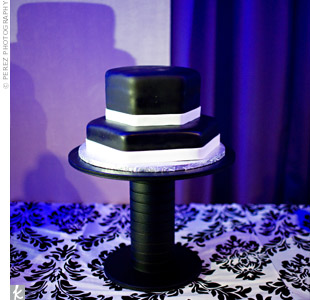 The two-layered, hexagonal cake wasn't exactly what the couple had envisioned, but they received multiple compliments from guests throughout the night on its design.