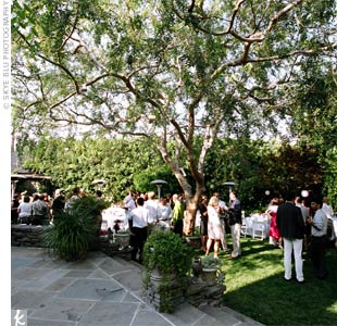 An enclosed courtyard, complete with a gigantic tree, moss-covered flagstone, and ivy covered walls made for the perfect English-garden ceremony. The vows, though brief, were meaningful, with Kim and Annie sharing why they love each other in their own words.