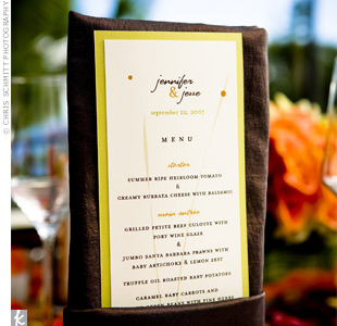 Green and orange menu cards detailed the three-course meal of salad, surf and turf, and an assortment of desserts.