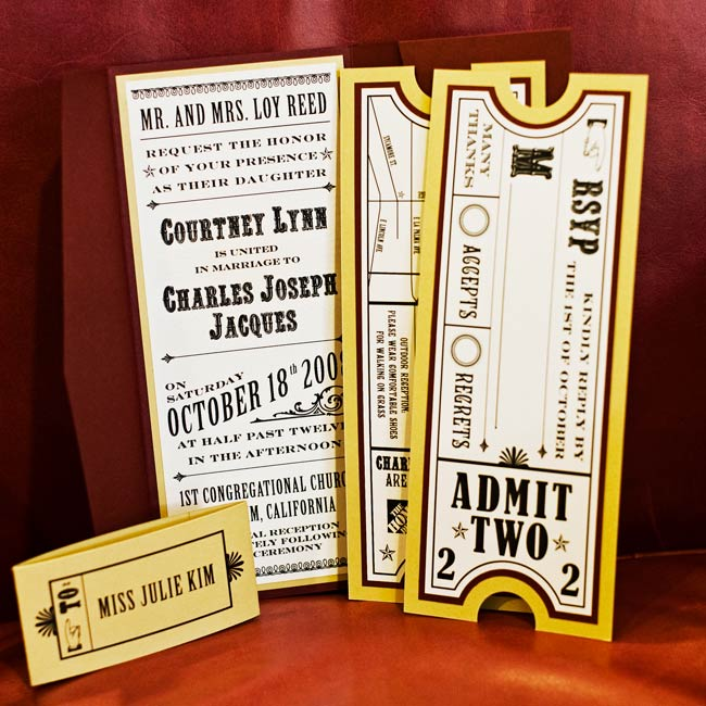 Courtney drew on her graphic design skills to create the clever invitations. Each included a ticket-shaped response card to play up the carnival theme.