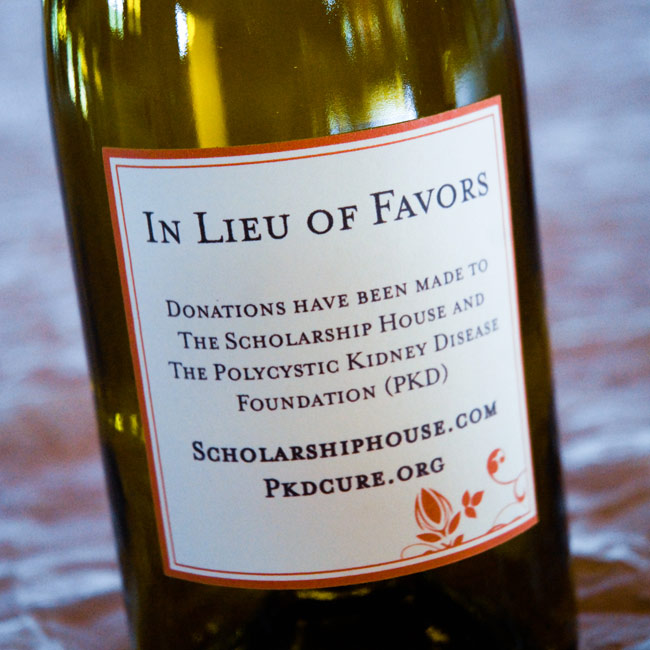 In lieu of favors, Olivia and Keith made a donation to the Polycystic Kidney Disease Foundation and Scholarship House.
