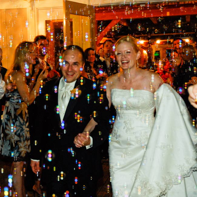 Olivia and Keith made their grand exit in a flurry of bubbles.