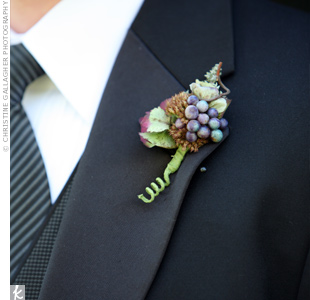 Antique hydrangeas and sedum heads decorated the guys' lapels.