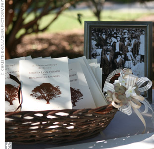 Programs printed with a dark brown tree design explained the musical selections, introduced the bridal party and had a special dedication to the couple's late relatives who couldn't be there to share in the day.