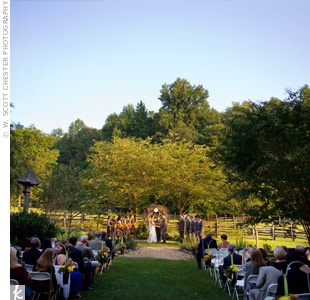 The highly personalized service included vows the couple wrote themselves and the bride&#39;s sister as the officiant. She got ordained online specifically for the occasion.